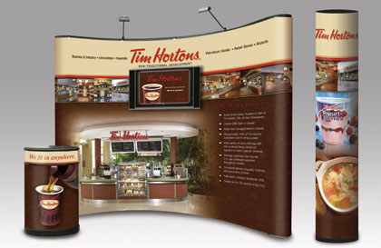 Trade show booth display for Tim Hortons with LCD TV