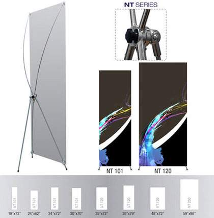 X-banner stand displays for trade shows, presentations and exhibitions