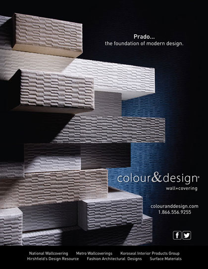 Creative ad design for wall paper covering product in Interior Design Magazine
