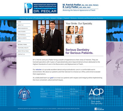 Website redesign dental office Dr. Pedlar
