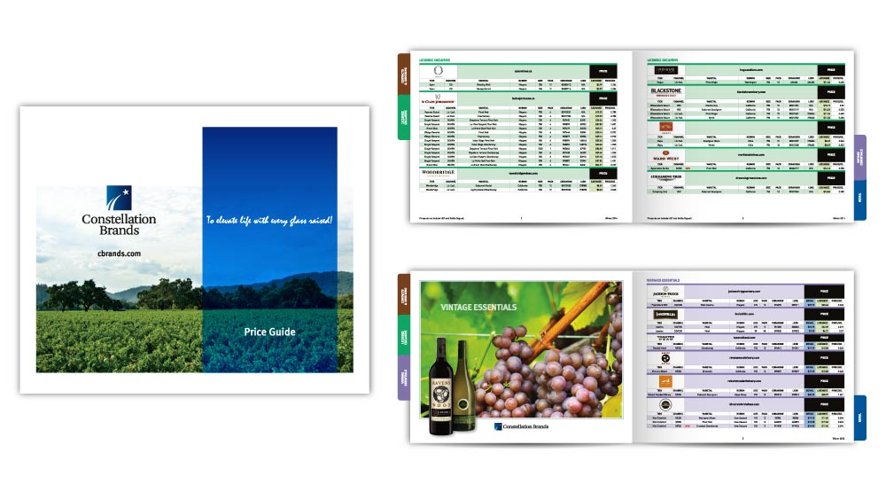 Wine product catalogue design