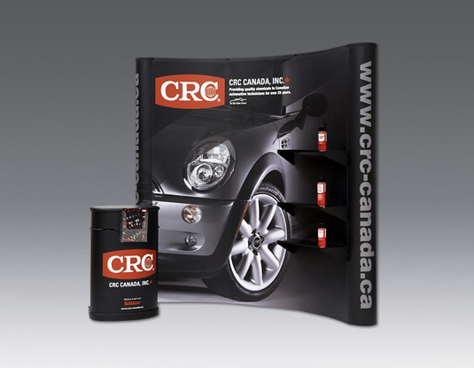 8-ft display booth with podium print and design CRC Canada