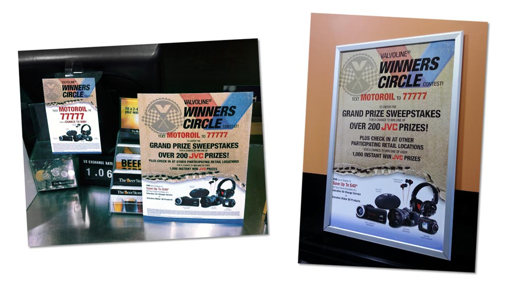 Creative contest promotion design marketing elements Valvoline Canada Winners Circle
