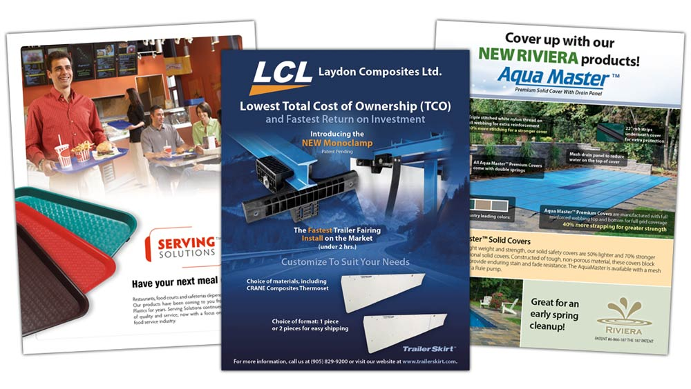 Creative sell sheet design for Serving Solutions, Laydon Composites and Pool Lining