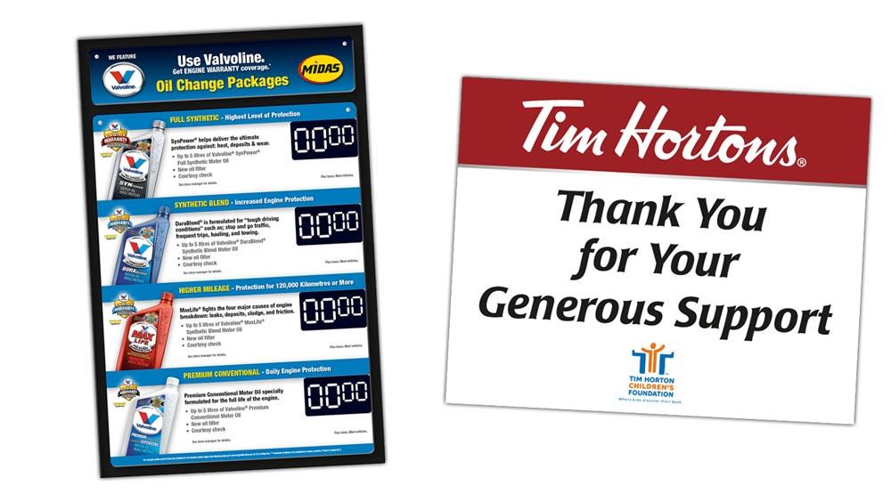 Creative sign design for Valvoline Canada and Tim Horton Children's Foundation