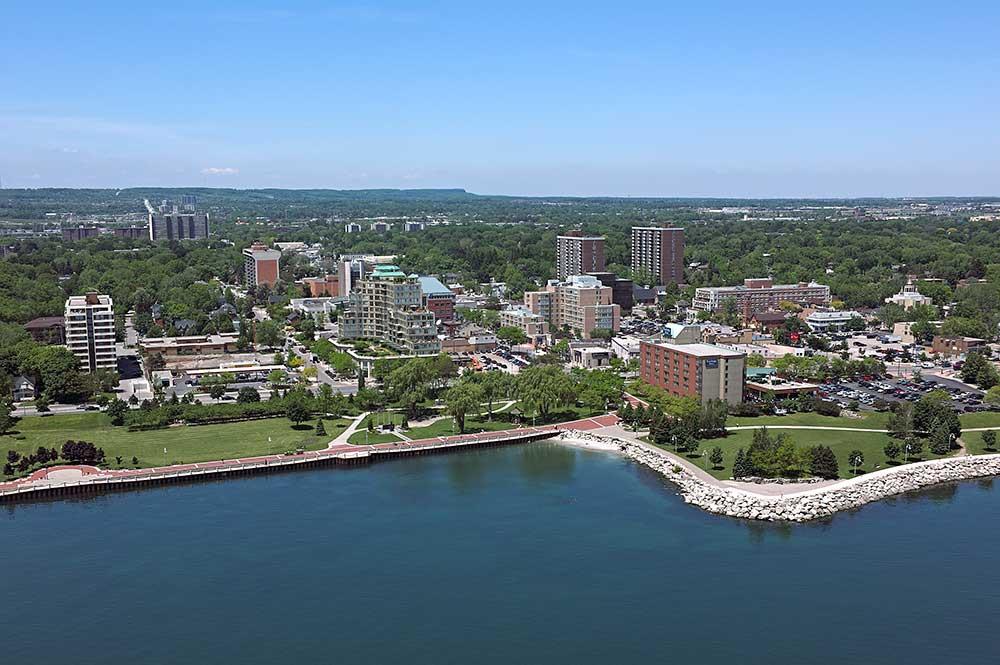 Aerial photography of Spencer Smith Park in Burlington, Ontario