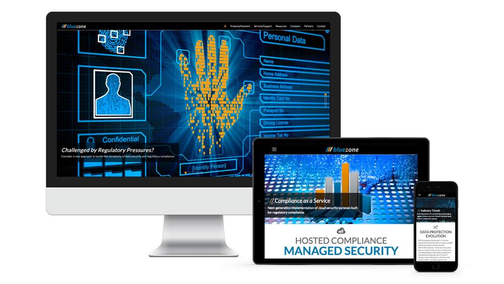 Responsive technology website for Bluezone Cloud Service