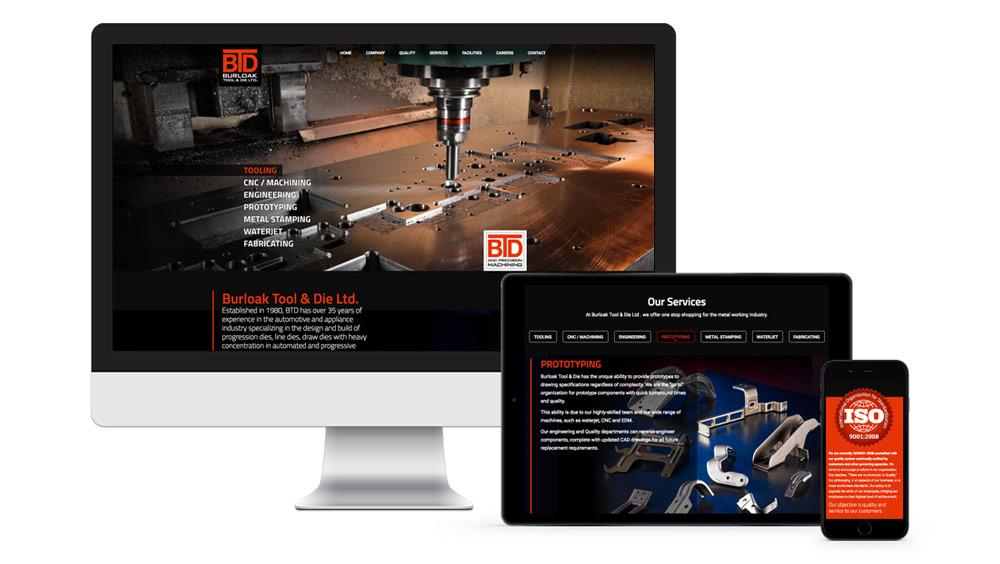 Web development responsive for Burloak Tool & Die