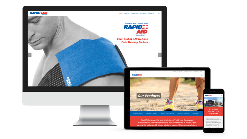 Website design for laptop, tablet and mobile phone for Rapid Aid