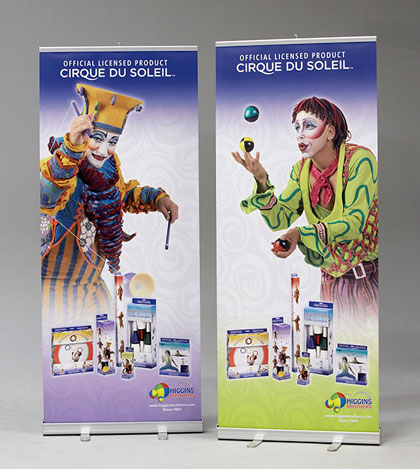 Portable retractable banner stand displays