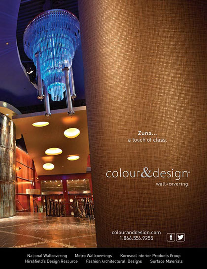 Marketing Services for Magazine Product Advertisement of Colour & Design's Zuna wall covering