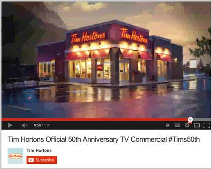 Restaurant photography for Tim Hortons commercial on YouTube