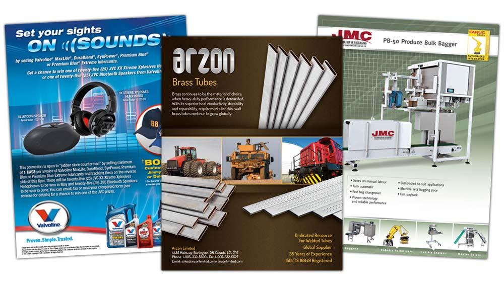 Custom sell sheet design for Arzon, Valvoline Marketing and JMC Packaging