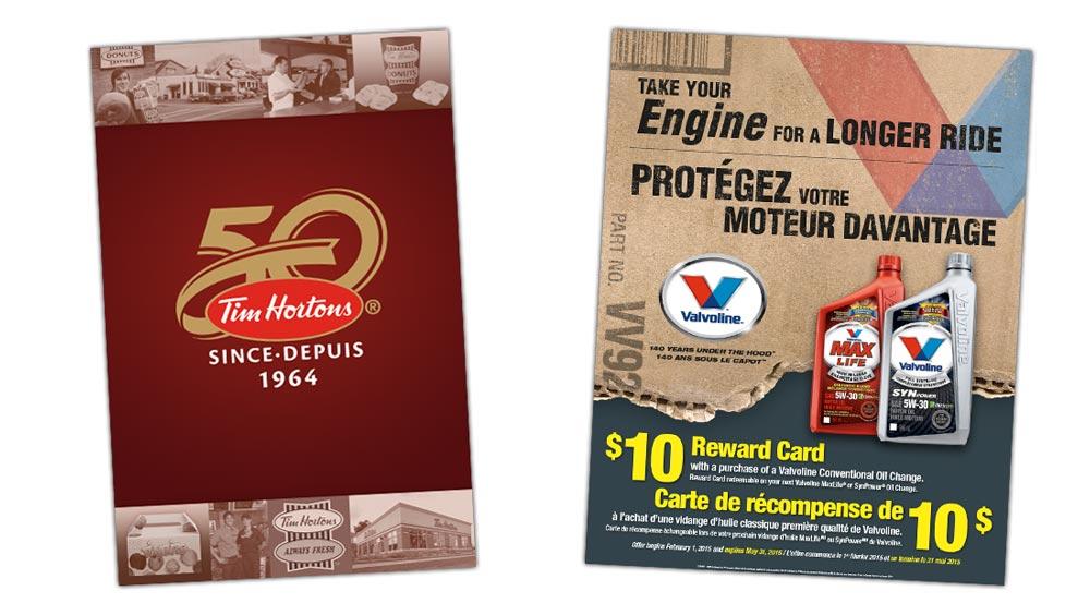 Marketing poster design for Tim Hortons and Valvoline Canada