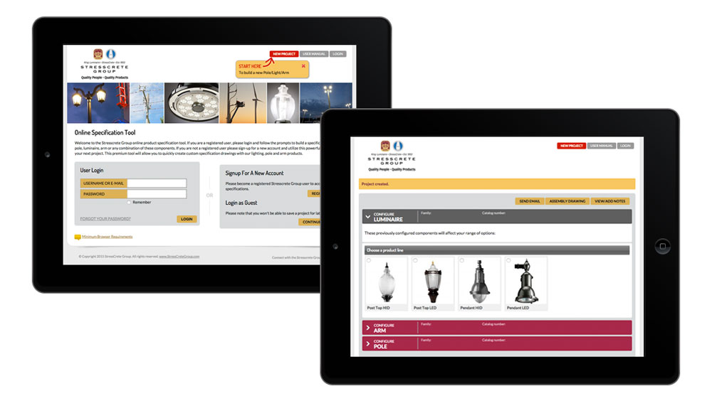 Custom interactive application design tool for product specifications
