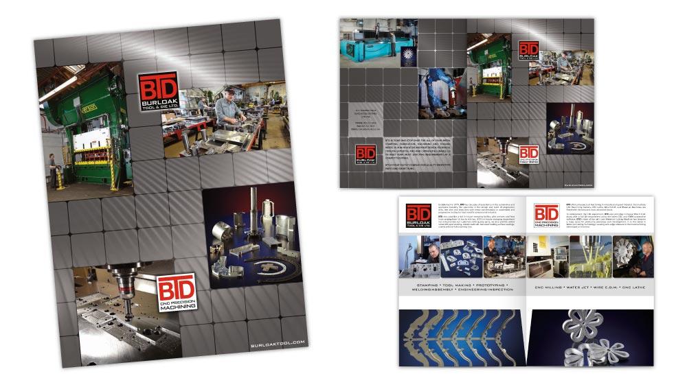 Corporate folder design with pockets and custom die line for Burloak Tool & Die