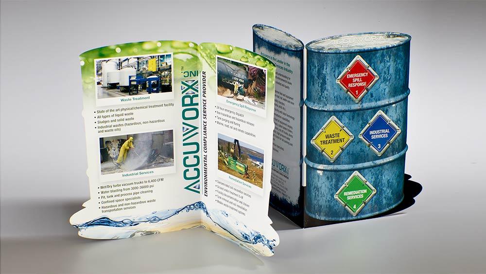 Custom brochure design with custom die line for Accuworx