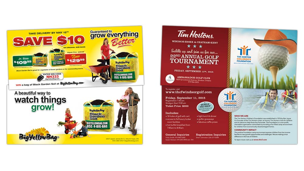 Event invite design for Big Yellow Bag and Tim Horton Children's Foundation