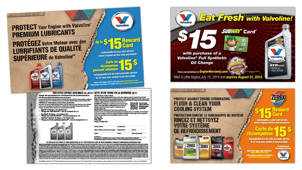 Marketing program tear pad design for Valvoline Marketing and Subway promotions